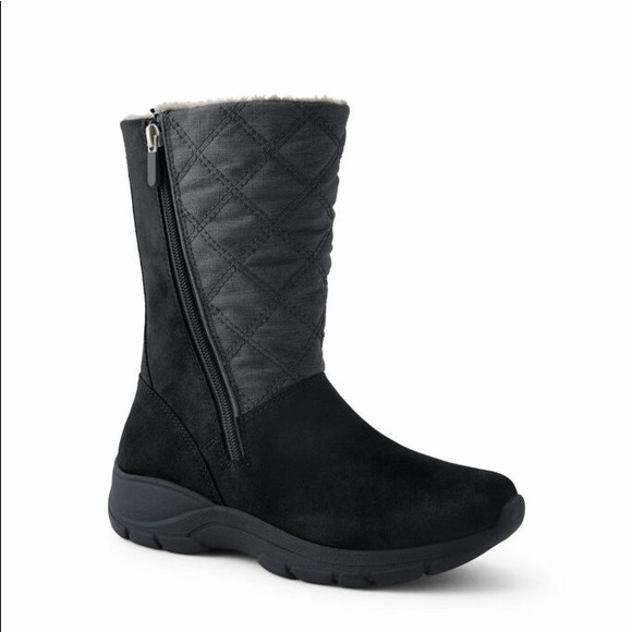 Lands End Suede and Quilted detail winter boots